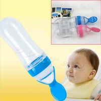 1x Baby Extruding Assisted Food Feeder Weaning Spoon Feeding Bottle Silicone