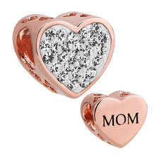 Rose Gold Plated Mom Heart Charm Clear Birthstone Crystal Pandora Charm Bracelet