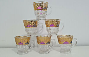 NEW SET OF 6 ARABIAN TURKISH TEA COFFEE LATTE CUPS SET GLASS WITH BOX