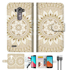 White AZTEC TRIBAL Wallet TPU Case Cover For LG G4-- A006