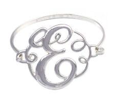 Monogram Style English Alphabet Letter Initial E Bangle Bracelet Women Jewelry
