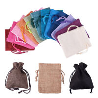 15Pcs Small Jewelry Pouches Cotton Gift Bags Wedding Favors Drawstring Linen