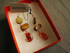 NWT WOMEN'S EARRINGS - CHICO'S - BEADS - BROWN, ORANGE, GOLD & CREAM - 222 bha