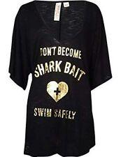 Miken Women's 'Shark Bait' Foil Tee Swimsuit Cover-Up XS Black (K20)