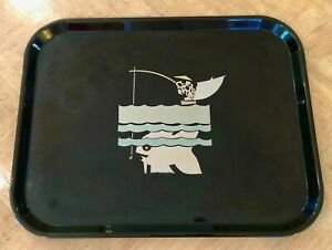ANTIQUE ART DECO JAPANESE FISHERMAN LARGE FISH MIKARTA MADE BLACK TRAY
