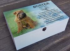 White personalised wooden box, memory keepsake box, Pet dog in loving memory