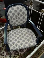 NAVY BLUE PAINTED LOUIS XV STYLE REVIVAL SALON FAUTEUIL ARMCHAIR NEW UPHOLSTERY.