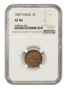 1857 Flying Eagle 1c NGC XF40 - Flying Eagle Cent - Popular First Year Type Coin