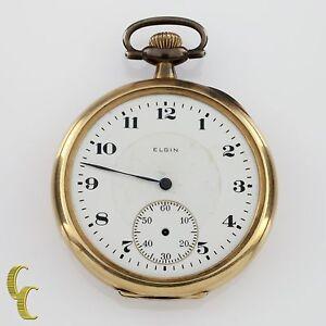 Elgin Open Face 14k Yellow Gold Antique Pocket Watch Gr 345 12S 17J 1920