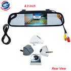 """4.3"""" Car TFT LCD Monitor Mirror + HD CCD Reverse Rear View Backup Camera Kit"""