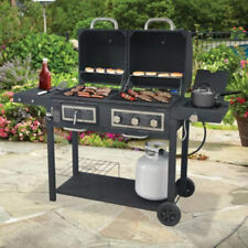Gas and Charcoal Grill Hybrid Combo Dual Black barbecue outdoor cooking BBQ NEW