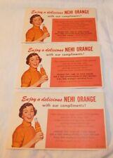 RARE old set of 3 Nehi Orange Soda Advertising Free Samples Coupons Tickets