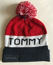 NWT Mens Tommy Hilfiger Big Logo Pom Pom Cuffed Knit Beanie Ski Hat Cap
