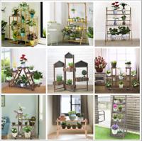Metal /Wooden Outdoor Indoor Pot Plant Stand Tierd /Step Flower Rack Garden Yard