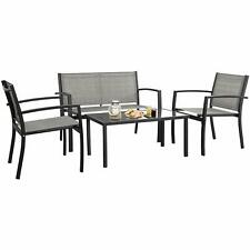 4 Pcs Outdoor Lawn Garden Patio Furniture Bistro Set With Steel Loveseat Gray