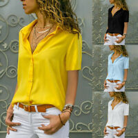Women Short sleeve T-Shirt Button Blouse V-neck Lapel Sexy Summer Solid Casual