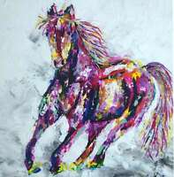 Horse Painting on Canvas.Abstract wall art.Original.Acrylic. 30x30cm,11.8x11.8""