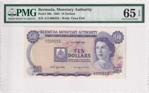 1982 Bermuda 10 Dollars P-30b S/N A/2000553 PMG 65 EPQ Gem UNC