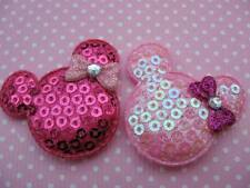 10 x 1.5 INCH PINK SEQUIN MINNIE MICKEY MOUSE HEAD APPLIQUE HEADBANDS HAIR BOWS