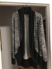 A Pea In The Pod Cardigan Sweater M Black Gray Striped Open Lightweight R1