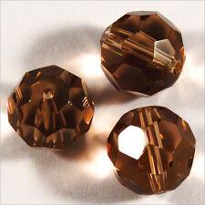 Lot de 10 perles à FACETTES 12mm en Cristal de Bohème Marron foncé
