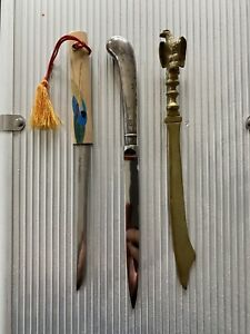 3 Antique Letter Openers Including Hallmarked silver William Yates Item.