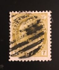 Stamps Canada Sc81 7c Olive Yellow QV Numeral issue. Pl see description