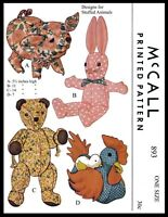 McCall # 893 Sewing Pattern Bear Bunny Hen / Chick Pig Stuffed Animal Toy 5.5-14