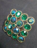"Vintage 2"" BLUE GREEN AB Rhinestone Pin Brooch AUSTRIAN ? GOLD TONE OPEN BACK"