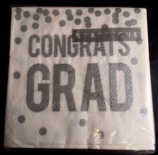 Graduation Day 40 Paper Napkins White w/ 'CONGRATS GRAD' w/ Confetti - NIP