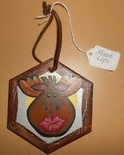 Small Hand-Painted Ceramic Tile Art Wall Hanging Puckered Moose Lips Home Decor