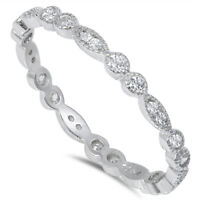 Stackable Eternity Clear CZ Wedding Band 925 Sterling Silver Ring Sizes 4 to 12