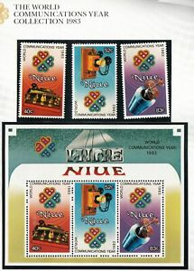 Niue 1983 Communication set of 3 stamps + Miniature sheet . MUH. going cheap