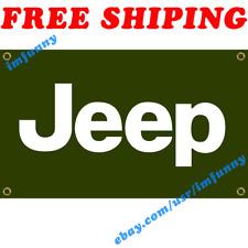 Jeep Car Logo Banner Flag 3x5 ft Racing Car Show Garage Wall Decor Sign Gift NEW