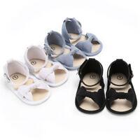 AU_ KF_ Newborn Baby Girl Soft Sole Crib Shoes Infant Toddler Summer Sandals Foo