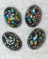 VINTAGE INCREDIBLE COLOR INLAID FRENCH JET GLASS STONES  10 PIECES BLACK