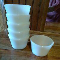 """Set Of 6 White Milk Glass Dishes 3 1/4"""" x 2 1/4"""" Dessert Dish"""