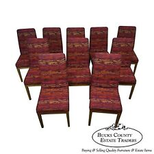 Mid Century Modern Set of 10 Dining Chairs w/ Knoll Textile Upholstery