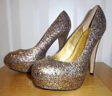 Stunning Topshop Multi Coloured Glitter Sparkle High Heel Platform Shoes UK 6 39