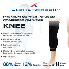 Premium Pro 88% Copper Infused Compression KNEE Brace Sleeve for Fitness & Sport