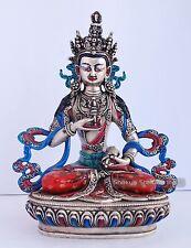 "8.5"" Vajrasattva Statue Made from Plastic Paste Colored Finish in Patan, Nepal"