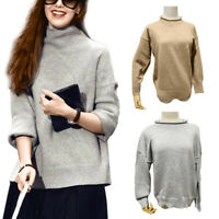 Women Pullover Sweater Cashmere Blends Turtleneck Pullover Long Sleeves Sweater