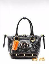 Marino Orlandi Italian Designer leather shoulder bag, crocodile embossed Satchel