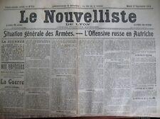 WW1 OFFENSIVE RUSSE EN AUTRICHE COMMUNIQUéS LE NOUVELLISTE DE LYON 1/9/1914