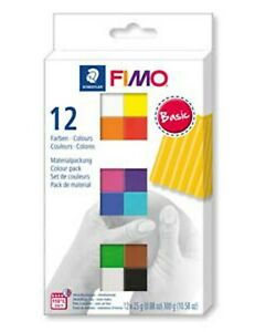 Fimo Basic 12 x 25g Half Blocks Pack Of Modelling Clay Colours Tumdee Accessory