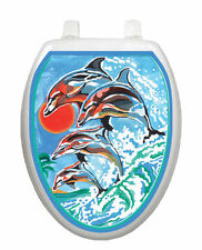 Toilet Tattoos® Dolphna Synchronized Swim Toilet Lid Decoration Reusable