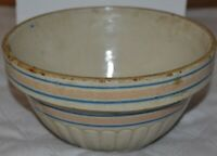 RED WING (4 BLUE BANDS) ADVERTISING STONEWARE BOWL J.D. Cutting & Co.