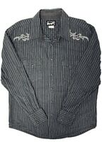 Wrangler Authentic Western VTG L/S Charcoal Striped Pearl Snap Men's XL Shirt