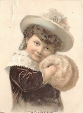 Household Sewing Machine Victorian Trade Card Girl Hat Fur Hand Muff Bo Peep