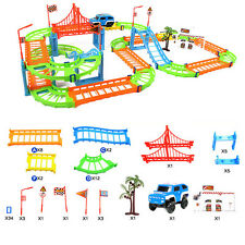 DIY Electric Car Racing Variety 73 pieces Two-Layer Track Building Blocks Model